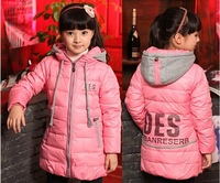 Hot sale children medium-long down coat outwear girls warm winter jacket
