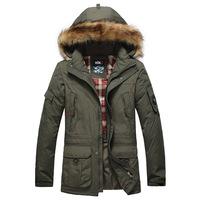 2014 new winter men's detachable liner in long down jacket  coat outwear