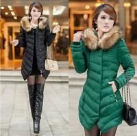 women's down wadded jacket cotton-padded jacket autumn winter women's medium-long slim cotton-padded jacket large fur dtyrf029