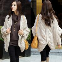 Sweaters 2014 Women Fashion Crochet Winter Batwing Cardigan Knitted Needle Loose Shawl Ladies Thick Coat Women Long Warm Sweater
