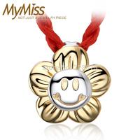 Mymiss 925 silver sunflower pendants smiley little girl boy child 18k gold accessories
