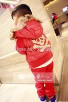 2014  Child cotton jacket 2 piece set children skull  boy girl cotton b underwear set . free shipping