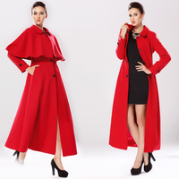 NEW arrival Women's woolen british style small cloak cape outerwear slim design wool long coat red 2 pieces