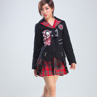 Glp spring and autumn original design punk personality women's small suit jacket slim 71305 tuxedo