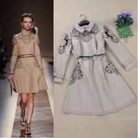 Top grade autumn and winter dress fashion flower cutout khaki vintage embroidered long sleeve dress belt