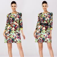 58032 gentlewomen one-piece dress slim big dress vintage fancy floral print dresses with belt