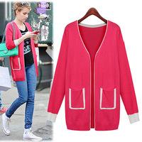 2014 autumn fashion plus size women coat cardigan basic shirt female sweater outerwear female wool outwear