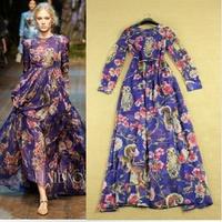 Runway fashion 2014 owl flower elegant print floor-length long sleeve maxi dress long silk dress
