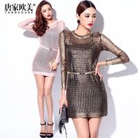 FREE SHIPPING Fashion autumn 2014 o-neck long-sleeve bronzier mesh cutout knitted one-piece dress