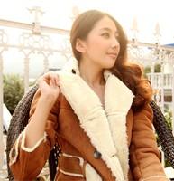 Winter new 2014 women leather clothing coat Women outerwear slim fashion leather jacket Brand women girls Wool Liner Warm Coat