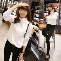 2014 autumn all-match Women's shirt Leisure small fresh laciness stand collar long-sleeve shirt white women blouse
