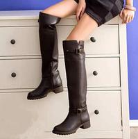 New 2014 women Knee Boots black women autumn boots fashion buckles Motorcycle boots Comfortable joker women winter boots