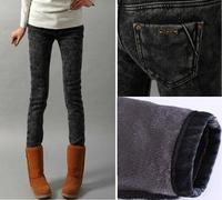 2014 autumn and winter high waist plus velvet thickening all-match elastic pants pencil boot cut denim jeans female