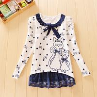 2014 female child long-sleeve T-shirt children's clothing child turn-down collar t shirt autumn top big boy women's