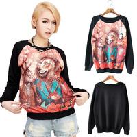 2014 3d print HARAJUKU loose animal kingdom lion raglan sleeve female sweatshirt