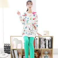 Spring and autumn thin 100% women's cotton long-sleeve sleepwear bow female lounge set