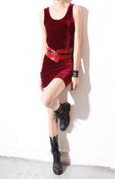 Free shipping 2014 Women Slim thin gold velvet sleeveless vest dress skirt wild