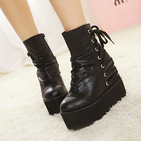 2014 new winter pleated women ankle boots martin flat platform round toe lacing wedges creepers shoes 813 - 19