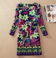 Wholesale women dresses M-4XL plus size women clothing 2014 autumn and Winter Yellow ladies dress Casual dress print green lady