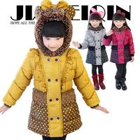 Winter 2014 children's wear top hooded Girls' cotton-padded clothes coat children down cotton-padded clothes of the girls