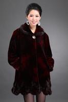2014 quinquagenarian marten velvet overcoat outerwear medium-long mother clothing thickening female winter fur
