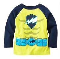 Wholesale Spring and autumn boy 100% cotton long-sleeve T-shirt grass green basic shirt top 6pcs/Lot Free shipping