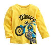 6pcs/Lot Free shipping yellow spring and autumn boy 100% cotton long-sleeve T-shirt basic shirt top