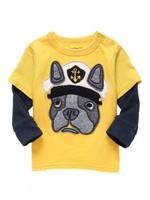 spring and autumn boy 100% cotton long-sleeve T-shirt yellow basic shirt top 6pcs/Lot Free shipping Wholesale