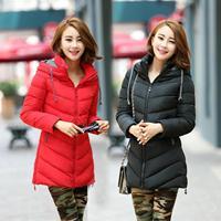 Women's cotton-padded jacket slim Feather cotton jacket female medium-long thickening down wadded jacket Women female winter