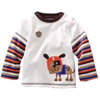 Wholesale spring autumn boy 100% cotton long-sleeve T-shirt boy basic shirt top 6pcs/Lot Free shipping
