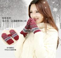 Autumn and winter thermal gloves women's male thickening plush wool mitten gloves plus velvet