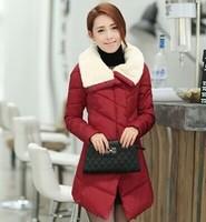 Free Shipping!2014 New  Fashion Clothing Women Fur Hooded Zipper Long Style Women Warm Down Coat 4 Color Winter parkas coat