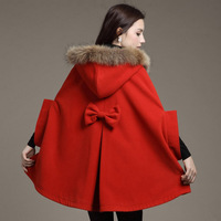 Free shipping new fall and winter clothes loose fur collar woolen coat big yards female