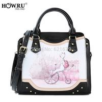 2014 autumn and winter the trend of fashionable casual print cartoon kitten one shoulder handbag women's handbag