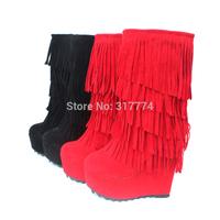 2013 15cm platform wedges tassel  snow  plus size small yards autumn boots