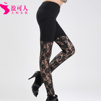 Free shipping 2014 new large size women fashion cotton long pants stitching lace leggings pants female security