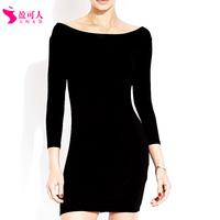 Free shipping 2014 new women's long sleeve collar halter jumpsuit skirt base skirt package hip Slim thin