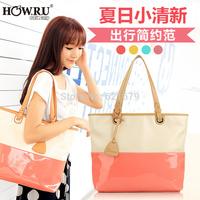 2014 fashion color block candy color handbag one shoulder big bag women's handbag