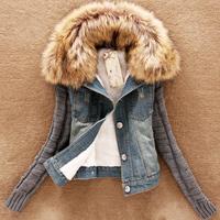 S-4XL women jackets jeans 2014 spring denim jacket Autumn and winter girl thickening velvet short design slim outerwear