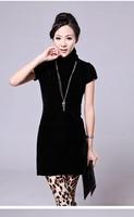 Free shipping 2014 new women's short-sleeved dress was thin package hip skirt bottoming black velvet dress