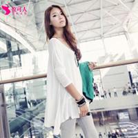Free shipping 2014 new casual shirt bat loose irregular round neck long sleeve T-shirt blouses thin