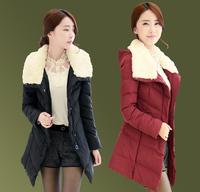 Down cotton-padded jacket medium-long fur collar wadded jacket female thickening cotton-padded jacket plus size outerwear