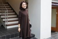 plus size women clothing autumn long sleeve Loose thin dress turtleneck Free shipping