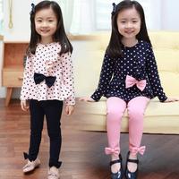2014 autumn bow girls clothing child long-sleeve T-shirt long trousers set tz-0376