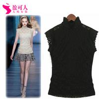 Free shipping 2014 new women's high-necked sleeveless summer female t-shirt lace shirt Slim thin gauze shirt