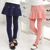 2014 100% cotton spring and autumn child girl legging trousers skinny pants kids leggings + skirt 100-150cm height girls
