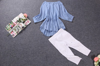 2014 spring and summer slim pleated ruffle sweep top loose female shirt 0148