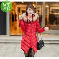 Fur collar medium-long slim fashion wadded jacket female cotton-padded jacket thickening cotton-padded jacket outerwear