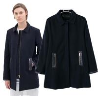 2014 autumn and winter women fashion turn-down collar zipper woolen outerwear lengthen slim woolen overcoat