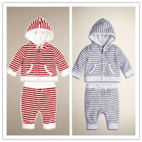 2014 Autumn new arrival children's clothing set casual100% cotton stripe sports set children hooded set 9M-4T baby boys